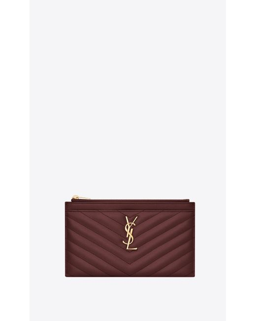 Saint Laurent Red Monogram Bill Pouch In Grain De Poudre Embossed Leather
