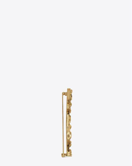 Saint Laurent - Metallic Monogram Draped Bow Brooch In Light Gold Metal - Lyst