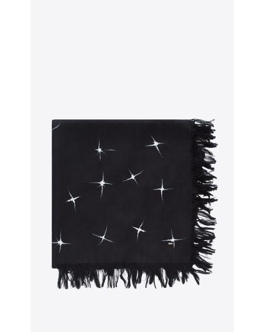 Foulard à imprimé étoiles filantes en chappe de soie noire et ivoire Saint Laurent pour homme en coloris Black