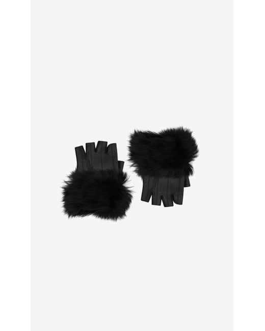 Saint Laurent Black Mittens In Leather And Shearling for men