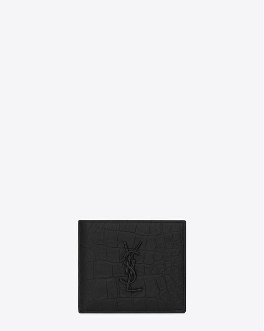 Saint Laurent - East/west Wallet In Black Crocodile Embossed Leather for Men - Lyst