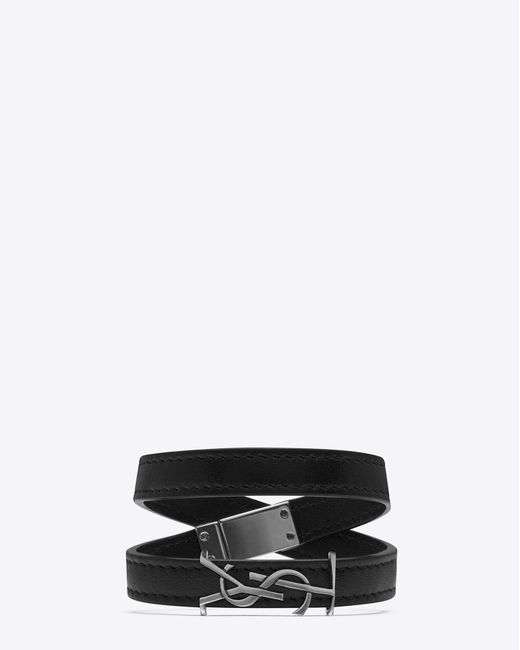 Saint Laurent | Ysl Double Wrap Bracelet In Black Leather And Brushed Silver-toned Metal for Men | Lyst