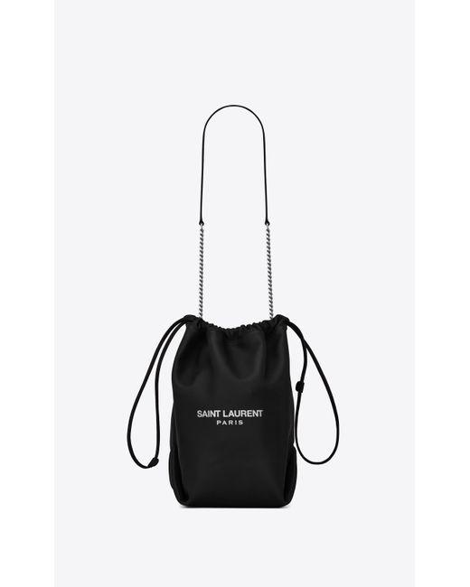 Saint Laurent Black Teddy Bucket Bag In Lambskin