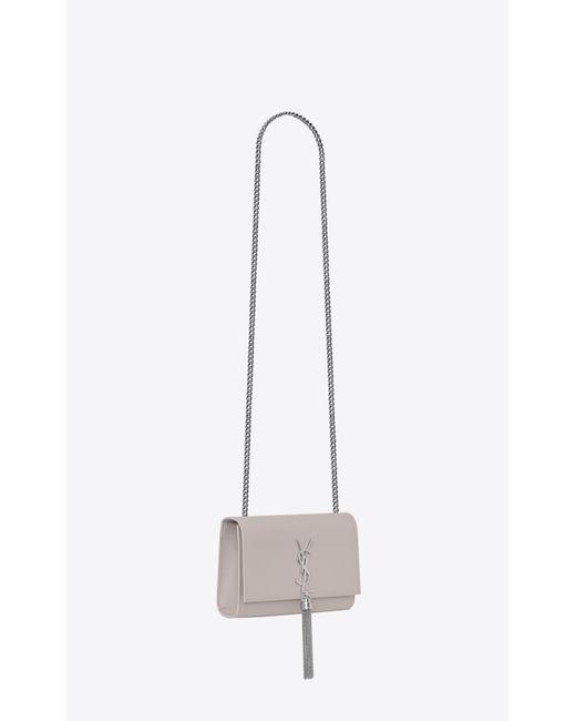 6df6c14cb1d0 ... Saint Laurent - White Kate Medium With Tassel In Grain De Poudre  Embossed Leather - Lyst ...