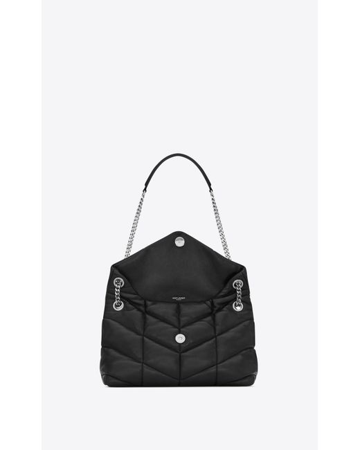 LOULOU PUFFER small en agneau matelassé Saint Laurent en coloris Black