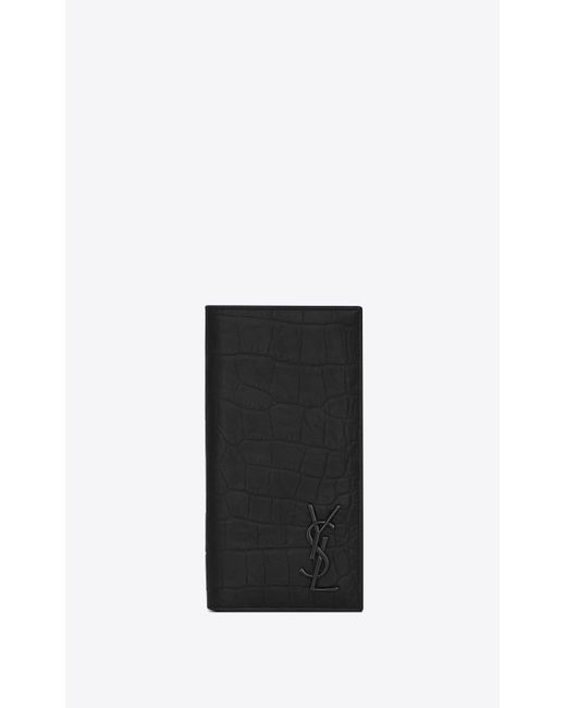 f483036b9a1 Saint Laurent - Black Monogram Continental Wallet In Crocodile Embossed  Leather for Men - Lyst ...