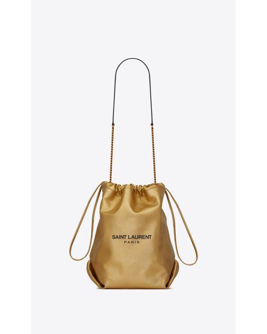 Saint Laurent Metallic Teddy Bucket Bag