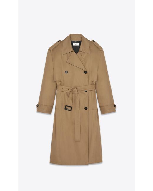 Saint Laurent Natural Oversized Trench Coat In Cotton for men