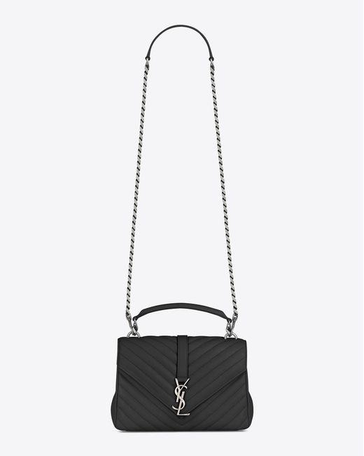 73a697759911 ... Saint Laurent - Black Monogram College Medium Quilted Leather Shoulder  Bag - Lyst ...