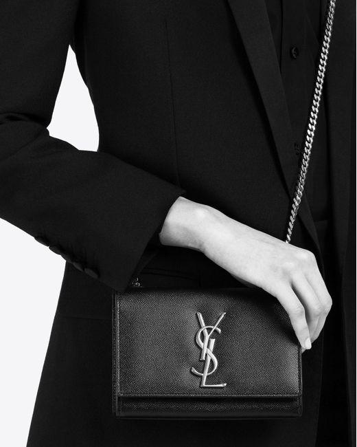 Classic Medium Kate Monogram Saint Laurent Satchel In Ultramarine Grain De Poudre Textured Leather