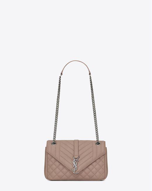 Saint Laurent | Multicolor Medium Soft Envelope Monogram In Rose Mixed Matelassé Leather | Lyst