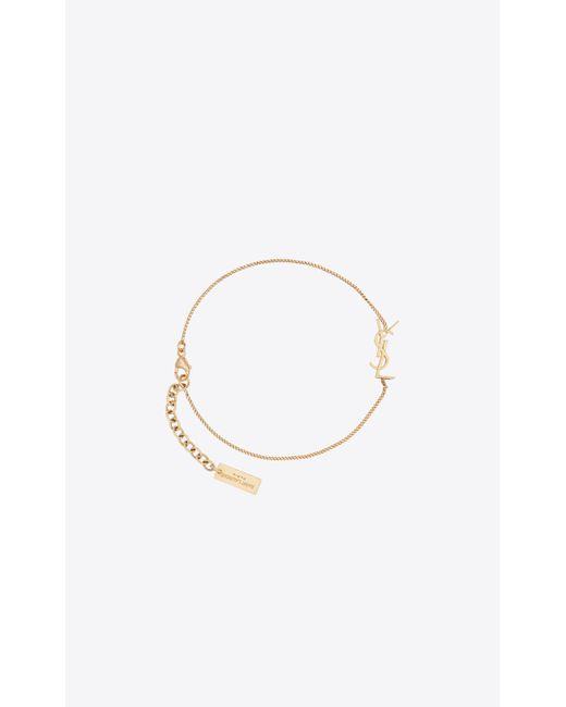 Saint Laurent Metallic Opyum Charm Bracelet In Gold Brass