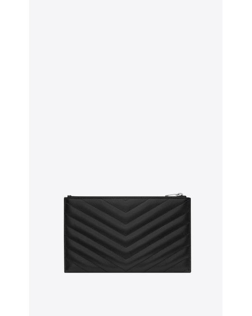 a0c3cf44e46 ... Saint Laurent - Black Monogram Bill Pouch - Lyst ...
