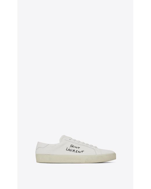 Saint Laurent Multicolor Court Classic Sl/06 Embroidered Sneakers In Fabric And Leather
