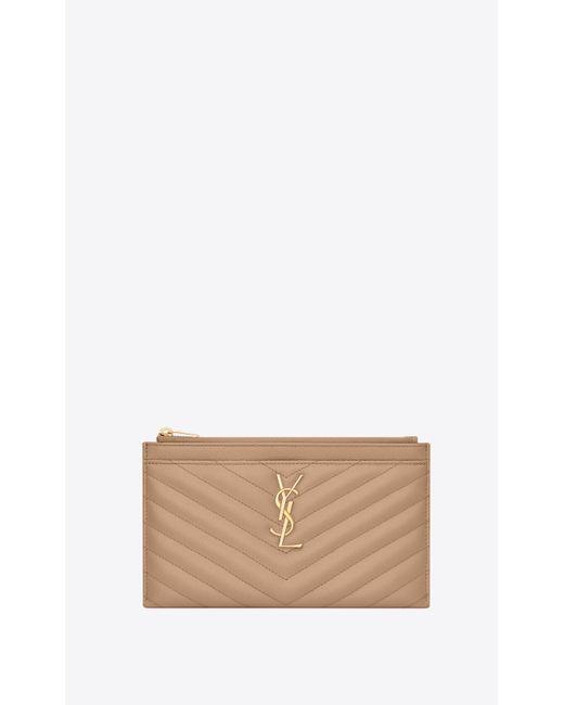 Porta banconote monogram in pelle goffrata grain de poudre di Saint Laurent in Natural