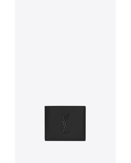 Monogram portefeuille east/west en cuir embossé grain de poudre Saint Laurent pour homme en coloris Black