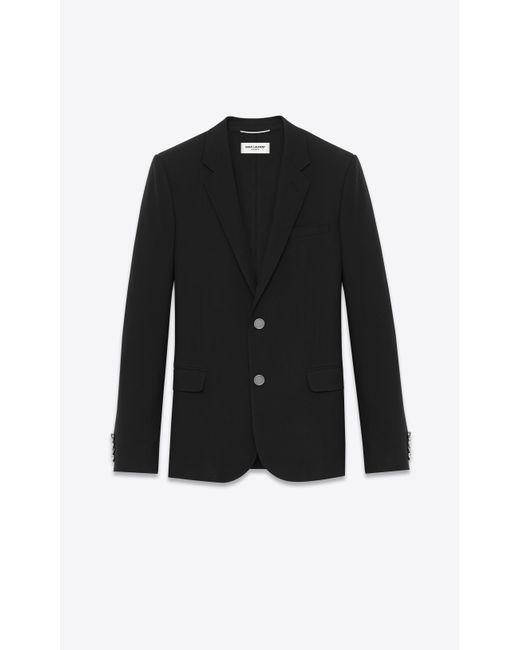 Saint Laurent - Black Veste à boutonnage simple en gabardine noire for Men - Lyst