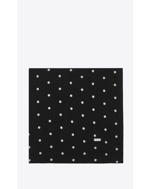 Losange à grands pois en crêpe de chine Saint Laurent en coloris Black
