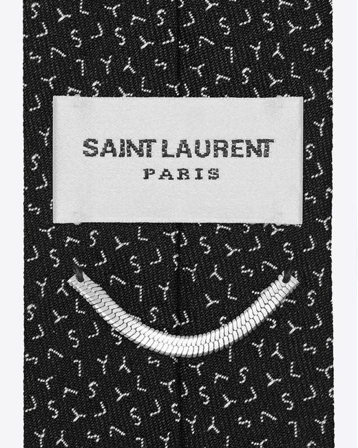 Saint Laurent - Slim Tie In Black And Grey Ysl Woven Silk Jacquard for Men - Lyst