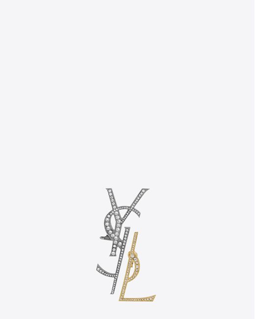 Saint Laurent   Gray Monogram Deconstructed Earrings In Gunmetal, Gold And Clear   Lyst