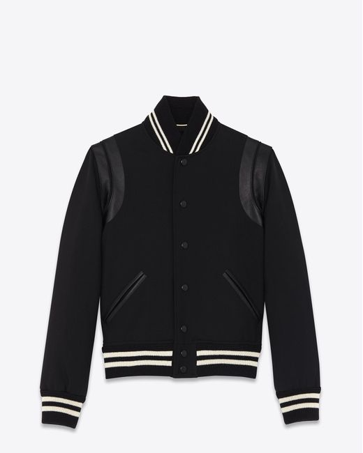 Saint Laurent - Classic Teddy Jacket In Black Wool Gabardine And Leather for Men - Lyst