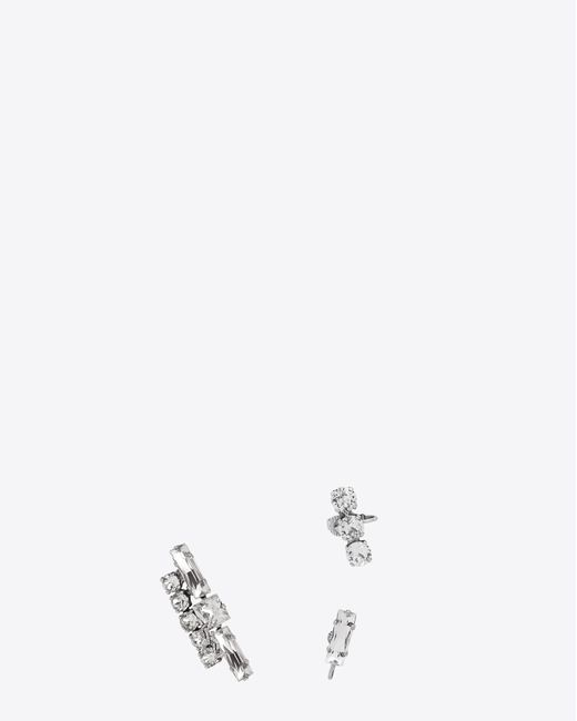 Saint Laurent | Metallic Smoking Set Of Earrings In Silver-toned Brass And Clear Crystal | Lyst