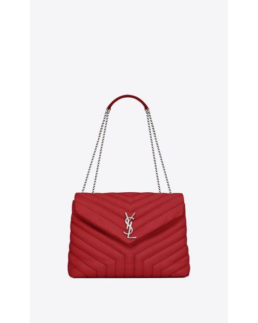 66d525d3b505 Saint Laurent - Medium Loulou Monogram Chain Bag In Lipstick Red