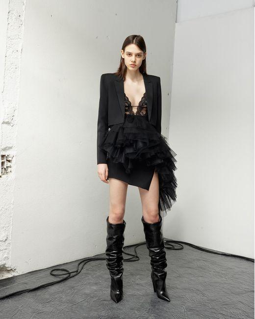 Saint Laurent Bodysuit With A Low Plunging Neckline In Black Stretch Floral Lace