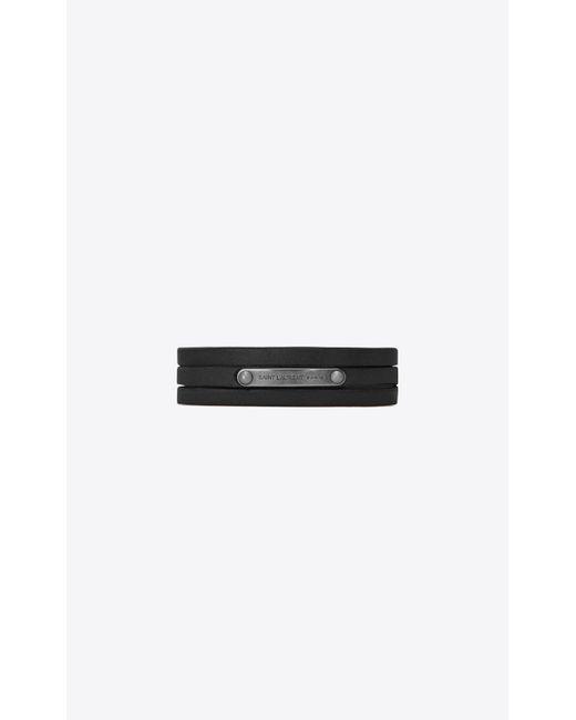 Saint Laurent - Narrow Multi-wrap Id Bracelet In Black Leather And Metal - Lyst