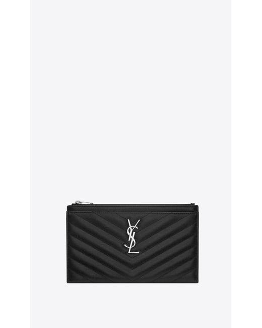 Monogramme bill pouch en cuir embossé grain de poudre Saint Laurent en coloris Black