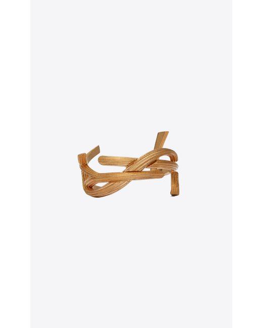 Saint Laurent Metallic Monogram Cuff Bracelet
