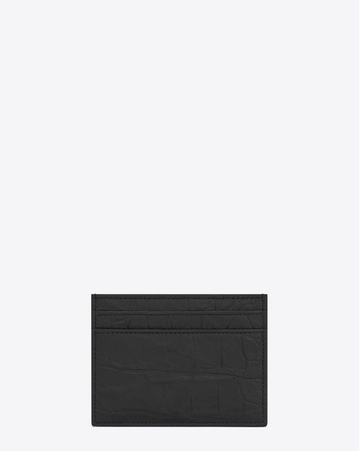 30b24bc1b48 ... Saint Laurent Black Monogram Card Case In Crocodile Embossed Leather  for men