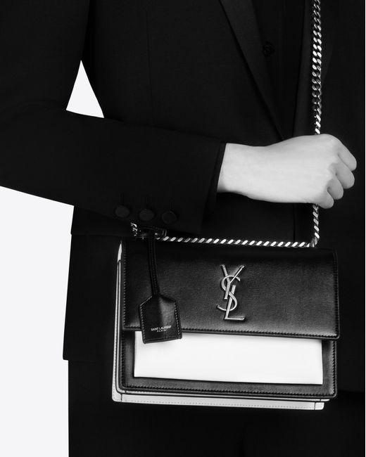 Lyst Saint Laurent Medium Sunset Bag In Black And Pearl