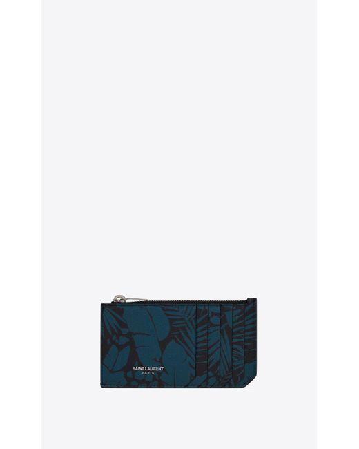 Fragments porte-cartes zippé en cuir embossé grain de poudre à imprimé tropical Saint Laurent pour homme en coloris Black