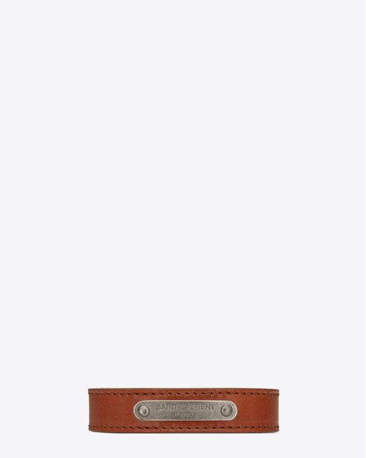 Saint Laurent - Id Bracelet In Brown Leather And Brushed Silver-toned Metal - Lyst