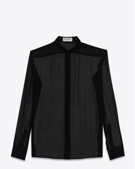 Saint Laurent | Signature Yves Collar Shirt In Black | Lyst