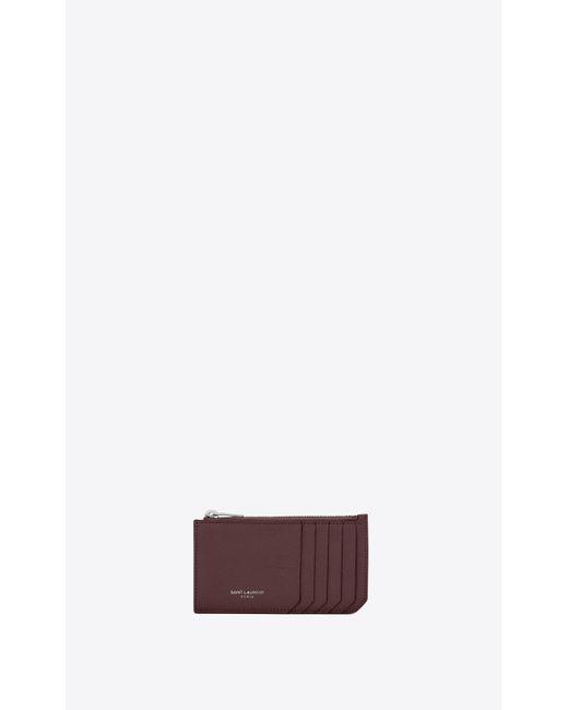 Fragments porte-cartes zippé en cuir grainé Saint Laurent en coloris Multicolor