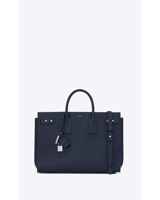 Saint Laurent - Blue Sac de jour large en cuir grainé for Men - Lyst