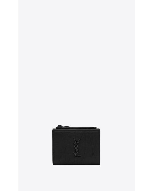 Saint Laurent - Black MONOGRAM Porte-cartes zippé en cuir embossé crocodile for Men - Lyst