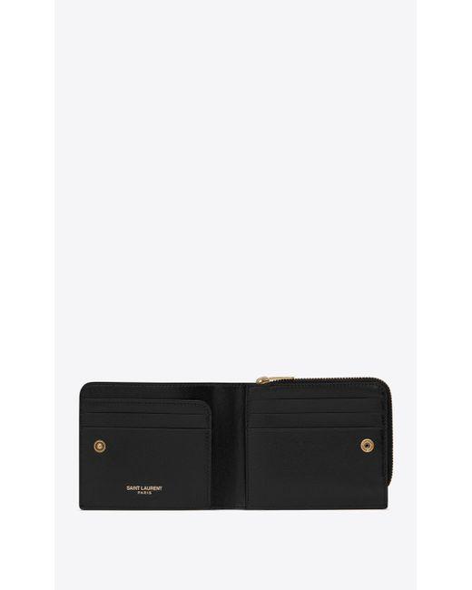 Tiny monogramme east/west portefeuille zippé en cuir lisse Saint Laurent pour homme en coloris Black