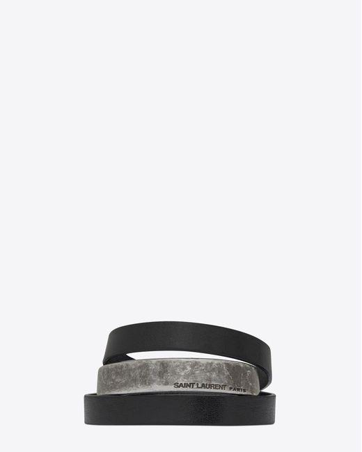 Saint Laurent - Black Leather Bracelets - Lyst