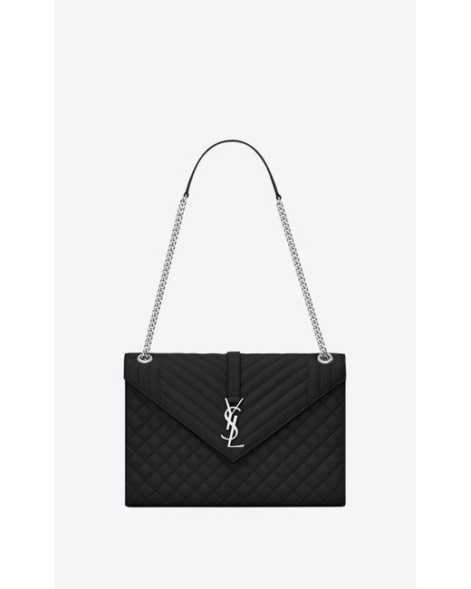 0ca783173257 Saint Laurent - Black Envelope Large Bag In Grain De Poudre Embossed Leather  - Lyst ...
