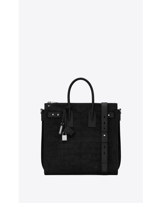 Saint Laurent Black Sac De Jour North/south Zip Tote In Crocodile-embossed Nubuck And Smooth Leather for men