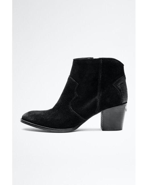 Bottines Molly Suede Noir - Taille 36 - Femme Zadig & Voltaire en coloris Black