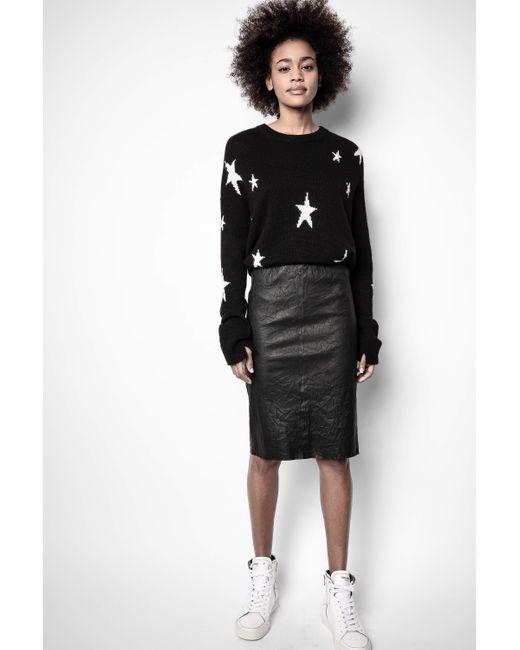 Zadig & Voltaire Black Jaden Cuir Froisse Skirt