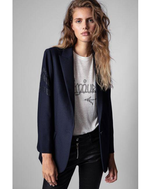 Zadig & Voltaire Blue Viva Arrow Strass Blazer