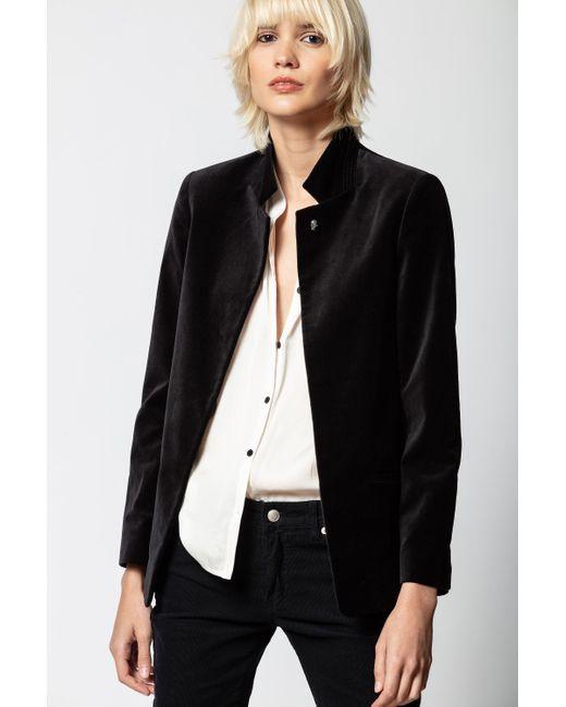 Zadig & Voltaire Black Volly Velours Jacket