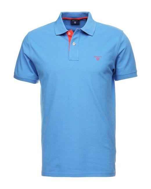 d804e040 ... Gant | Blue Contrast Collar Polo Shirt for Men | Lyst ...