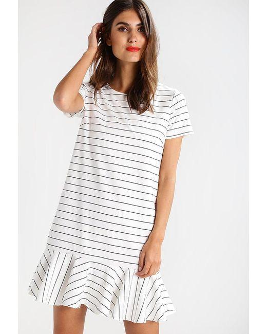 Vila | White Virufflelow Jersey Dress | Lyst