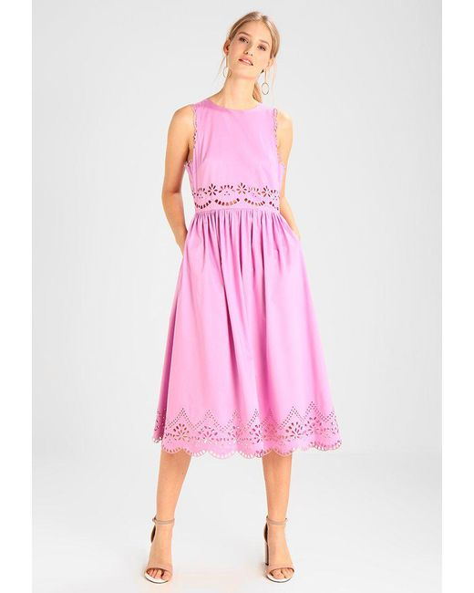b33086fdb55 Ted Baker | Pink A Line Midi Embroidered Dress Day Dress | Lyst ...